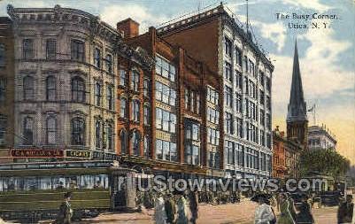 The Busy Corner - Utica, New York NY Postcard
