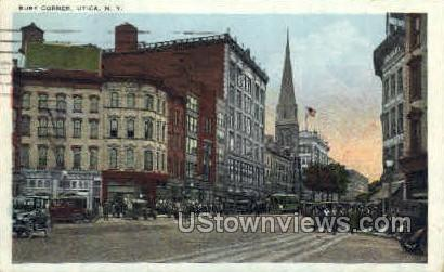 Busy Corner - Utica, New York NY Postcard