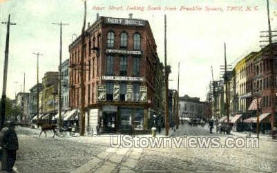 River Street, Franklin Square - Troy, New York NY Postcard