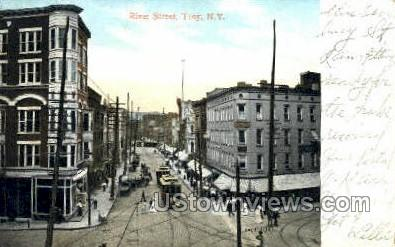 River Stree - Troy, New York NY Postcard