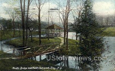 Rustic Bridge & Rest, Oakwood - Troy, New York NY Postcard