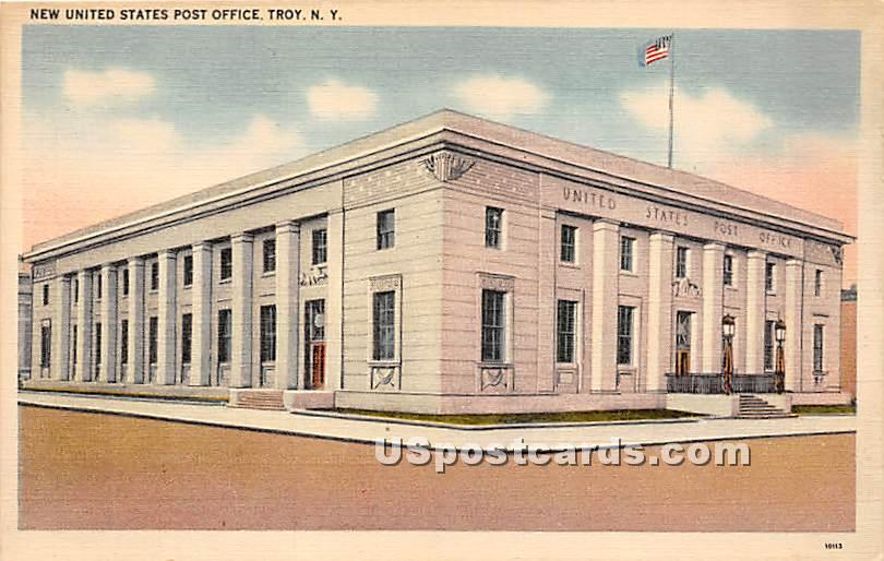 New United States Post Office - Troy, New York NY Postcard