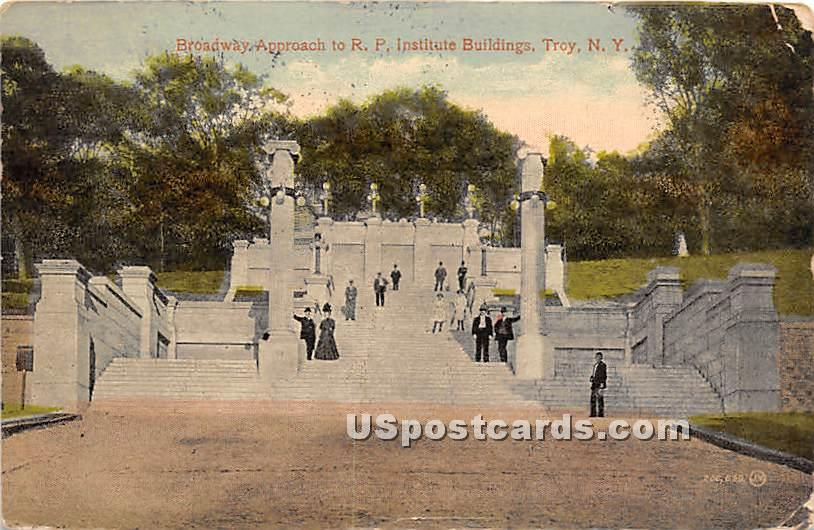 RP Institute Buildings - Troy, New York NY Postcard