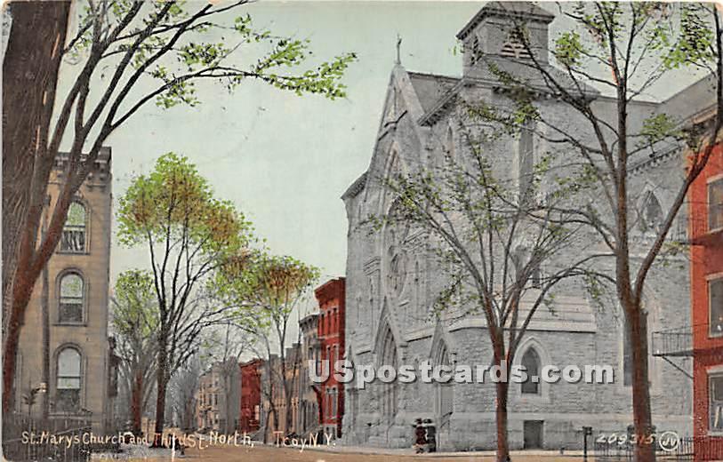 St Mary's Church - Troy, New York NY Postcard