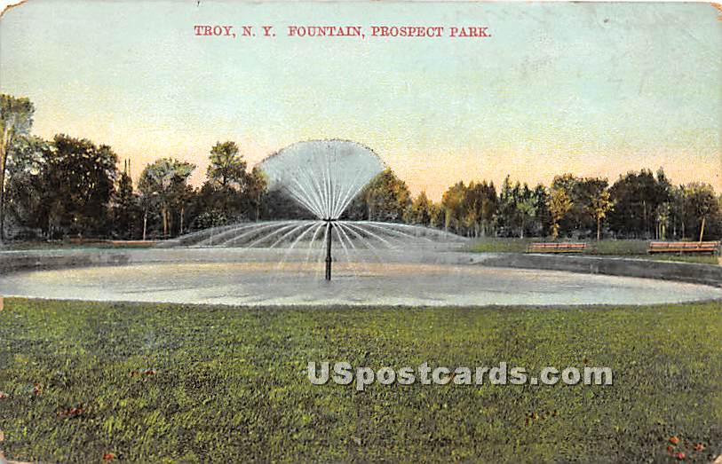 Fountain, Prospect Park - Troy, New York NY Postcard