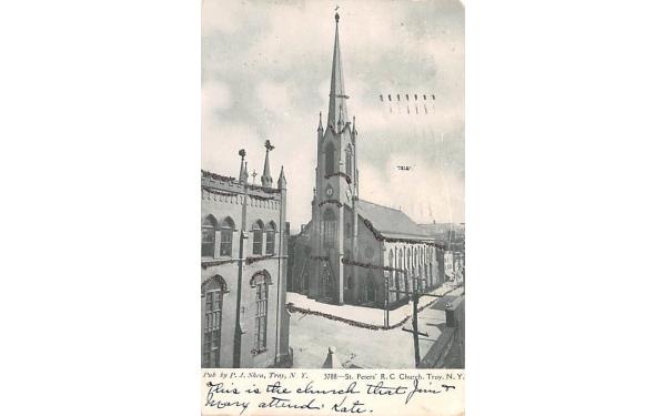 St Peter's RC Church Troy, New York Postcard