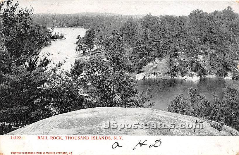Ball Rock - Thousand Islands, New York NY Postcard