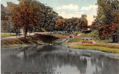 Lake in Prospect Park Troy, New York Postcard