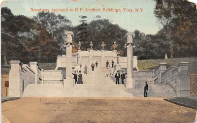 Broadway Approach to RP Institute Buildings Troy, New York Postcard