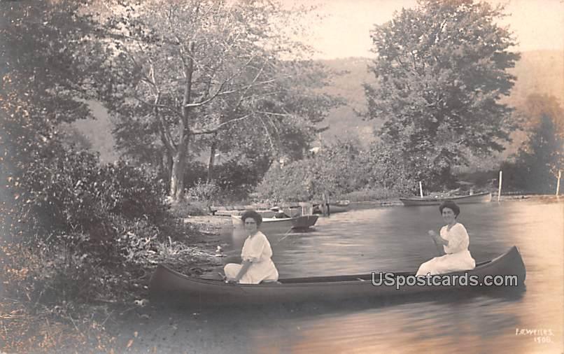 Women in Canoe - Utica, New York NY Postcard