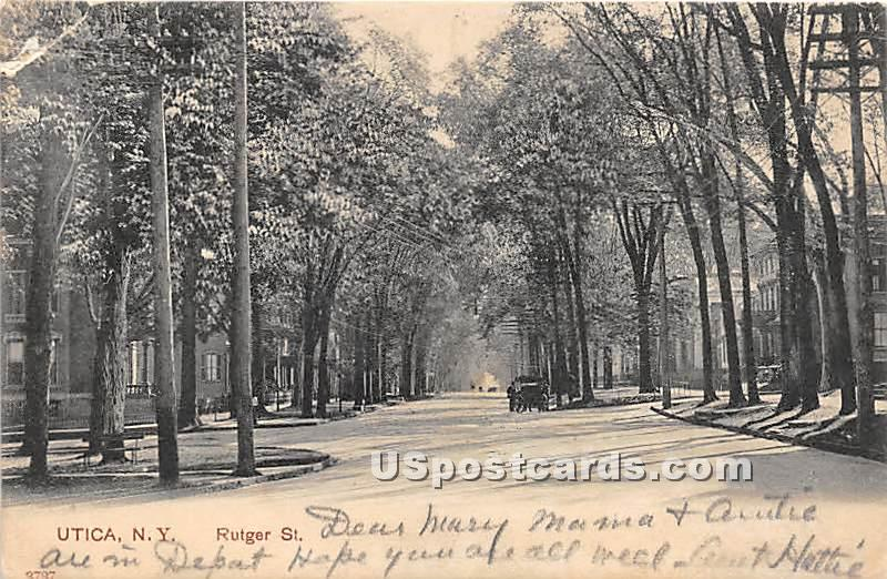 Rutger Street - Utica, New York NY Postcard