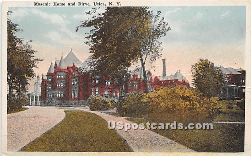 Masonic Home & Drive - Utica, New York NY Postcard