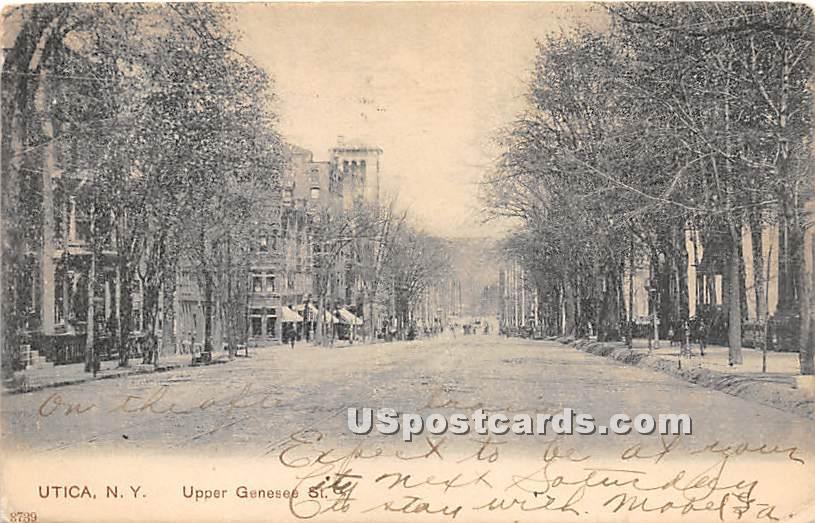 Upper Genesee Street - Utica, New York NY Postcard