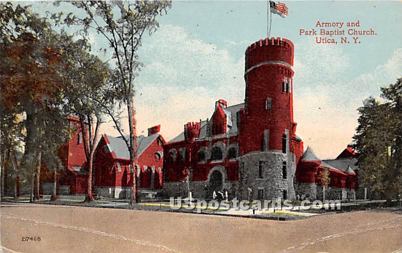 Armory & Park Baptist Church - Utica, New York NY Postcard