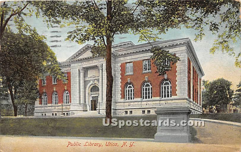 Public Library - Utica, New York NY Postcard