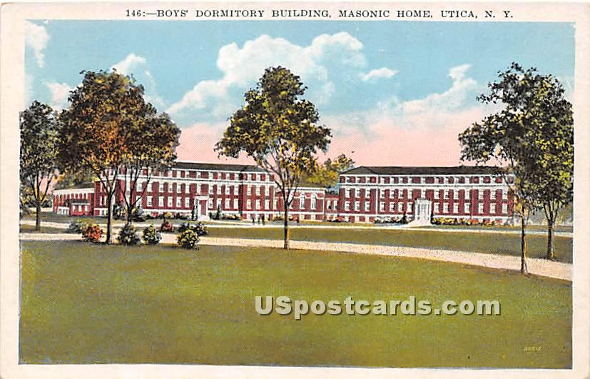 Boys' Dormitory Building, Masonic Home - Utica, New York NY Postcard