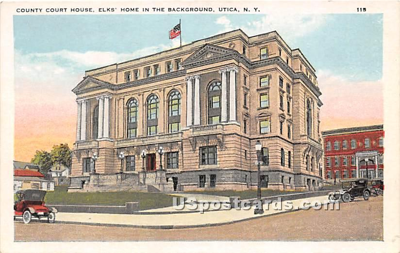 Country Court House, Elks Home - Utica, New York NY Postcard