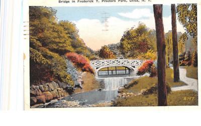 Bridge in Frederick T Proctors Park Utica, New York Postcard