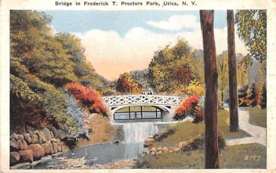 Bridge in Frederick T Proctors Park Utica, New York Postcard