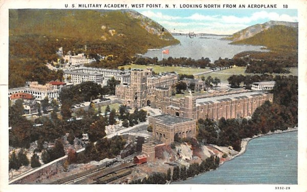 Looking North from Aeroplane West Point, New York Postcard