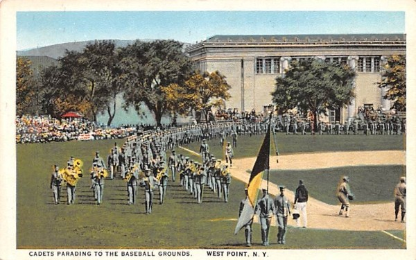 Cadets Parading to Baseball Grounds West Point, New York Postcard