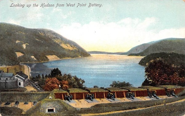 Looking up the Hudson West Point, New York Postcard