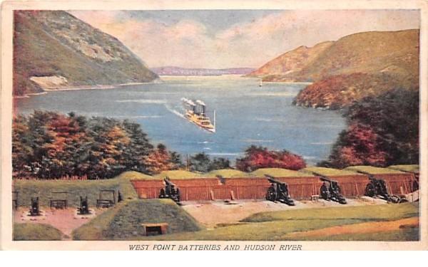 West Point batteries & Hudson River New York Postcard