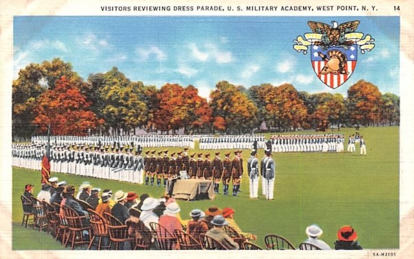 Visitors Reviewing Dress Parade West Point, New York Postcard