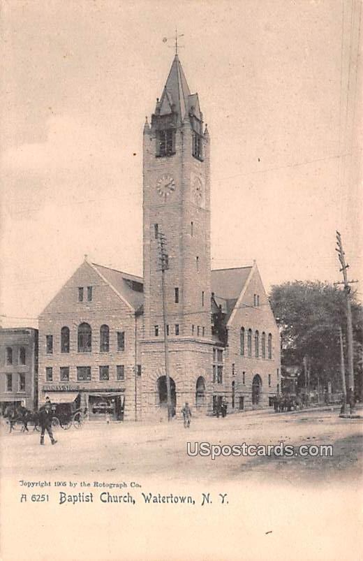 Baptist Church - Watertown, New York NY Postcard