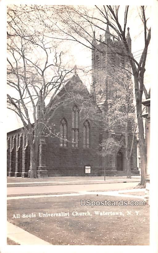 All Souls Universalist Church - Watertown, New York NY Postcard