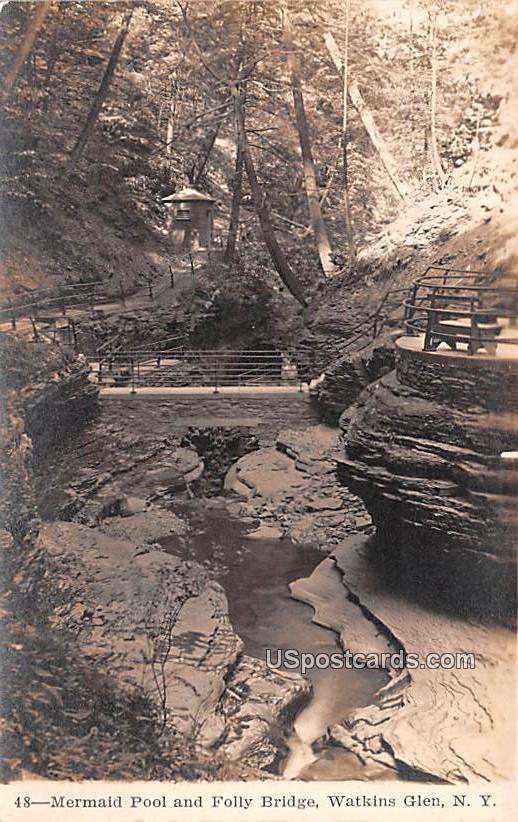 Mermaid Pool and Folly Bridge - Watkins Glen, New York NY Postcard
