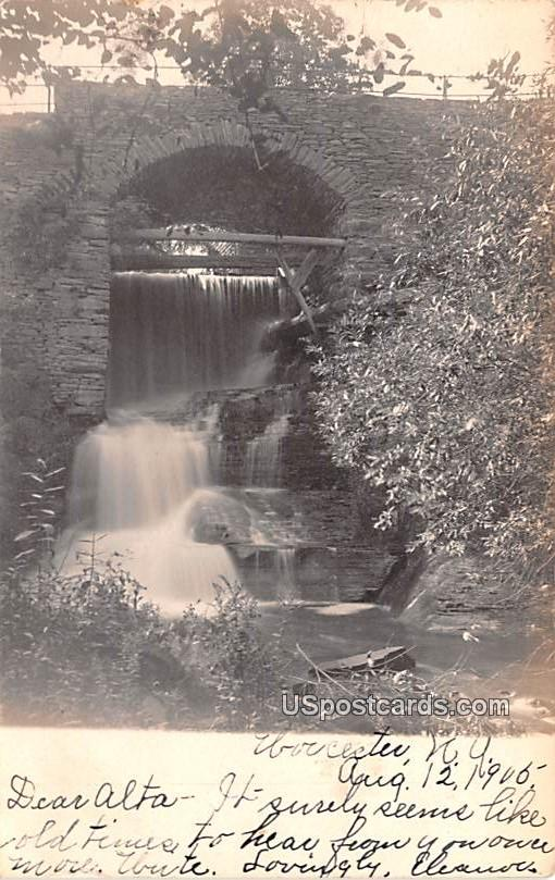 Falls and Bridge - Worcester, New York NY Postcard