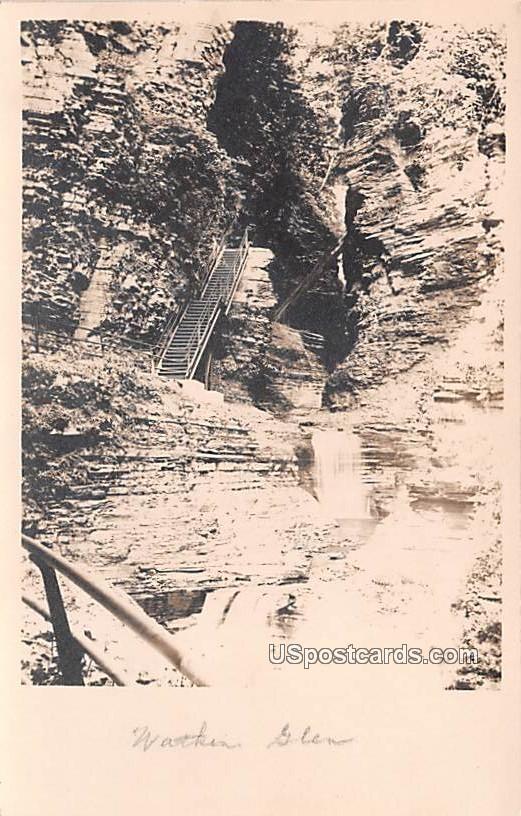 Stairs and Falls - Watkins Glen, New York NY Postcard
