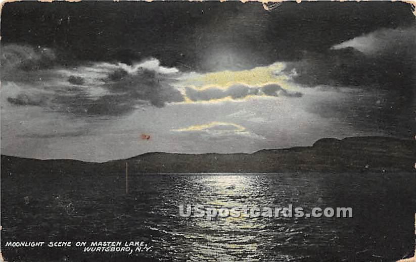 Moonlight on Masten Lake - Wurtsboro, New York NY Postcard