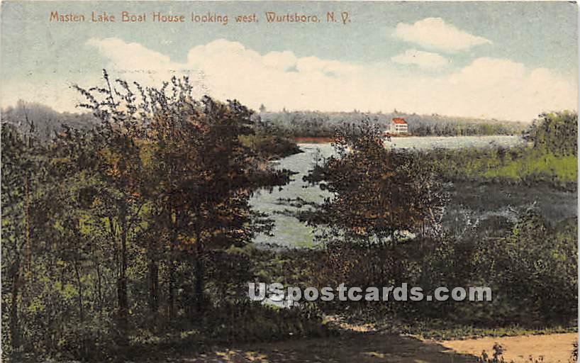 Masten Lake Boat House - Wurtsboro, New York NY Postcard