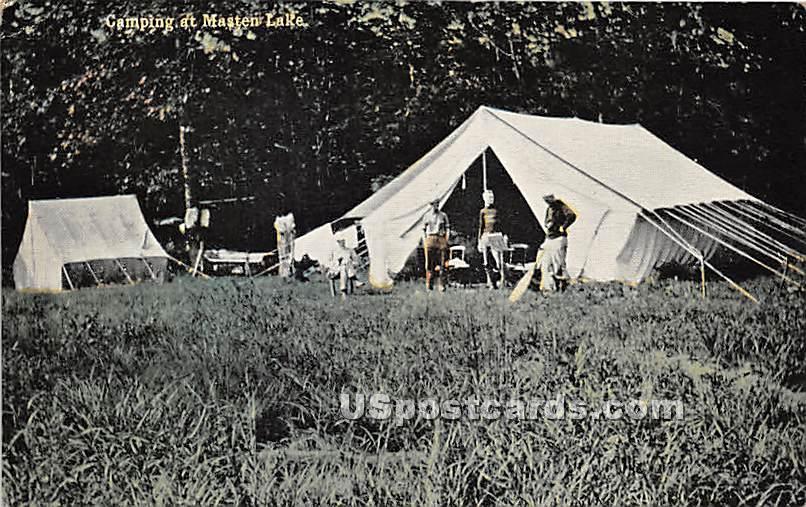 Camping at Masten Lake - Wurtsboro, New York NY Postcard
