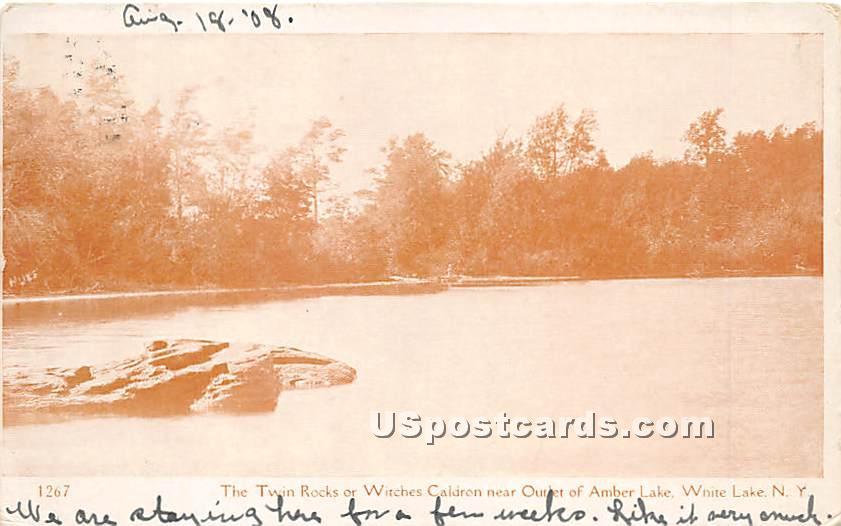 The Twin Rocks or Witches Caldron - White Lake, New York NY Postcard