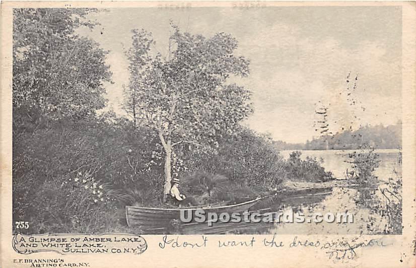 Glimpse of Amber Lake - White Lake, New York NY Postcard