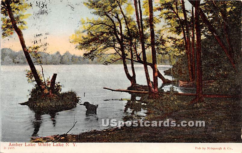 Amber Lake - White Lake, New York NY Postcard