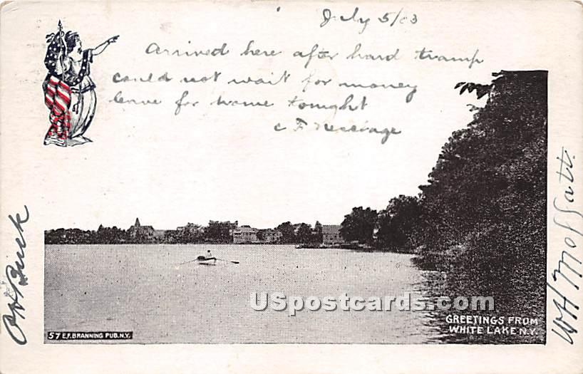 Greetings from - White Lake, New York NY Postcard