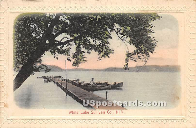 Dock Scene - White Lake, New York NY Postcard