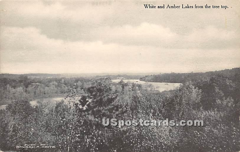 White and Amber Lakes from the Tree Tops - White Lake, New York NY Postcard