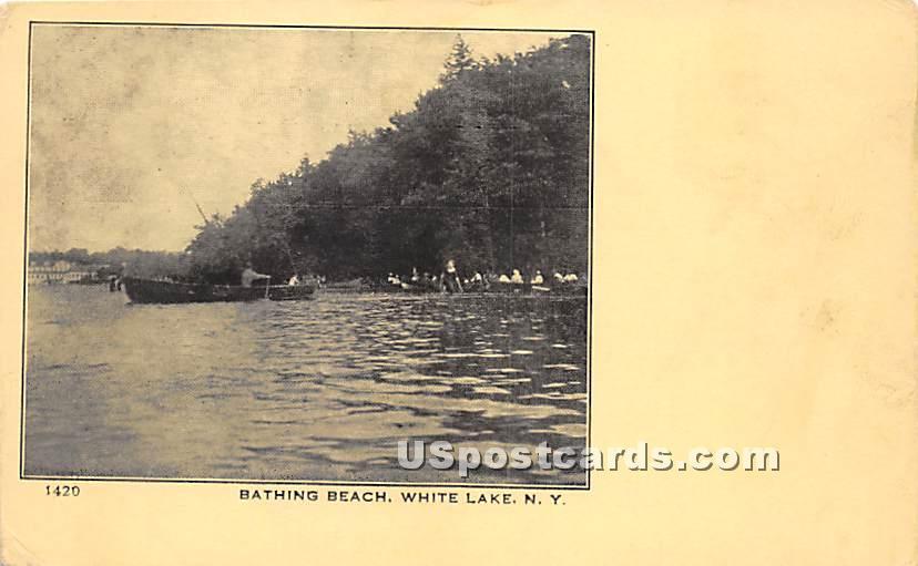 Bathing Beach - White Lake, New York NY Postcard