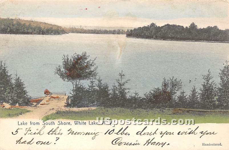 Lake from South Shore - White Lake, New York NY Postcard