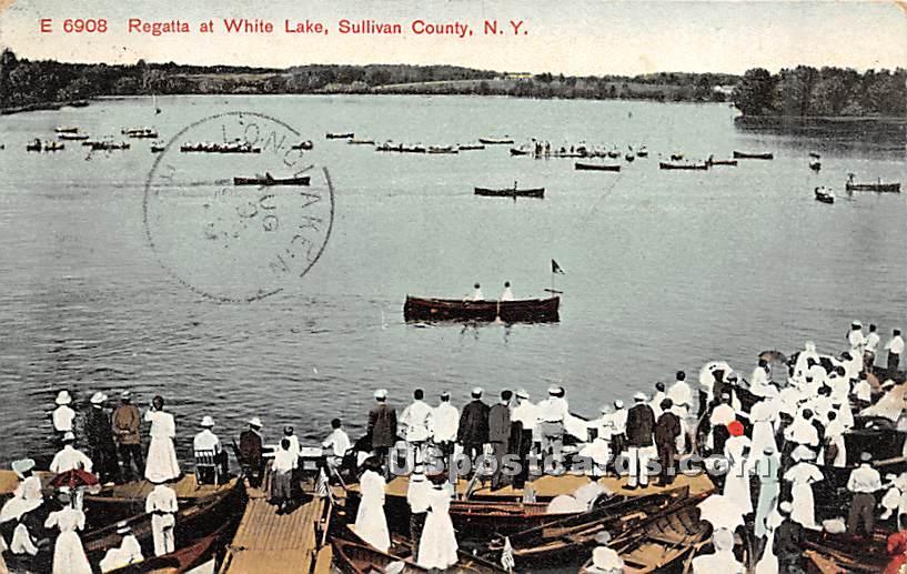 Regatta at White Lake - New York NY Postcard