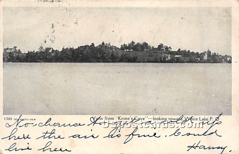View from Kinne's Cove - White Lake, New York NY Postcard