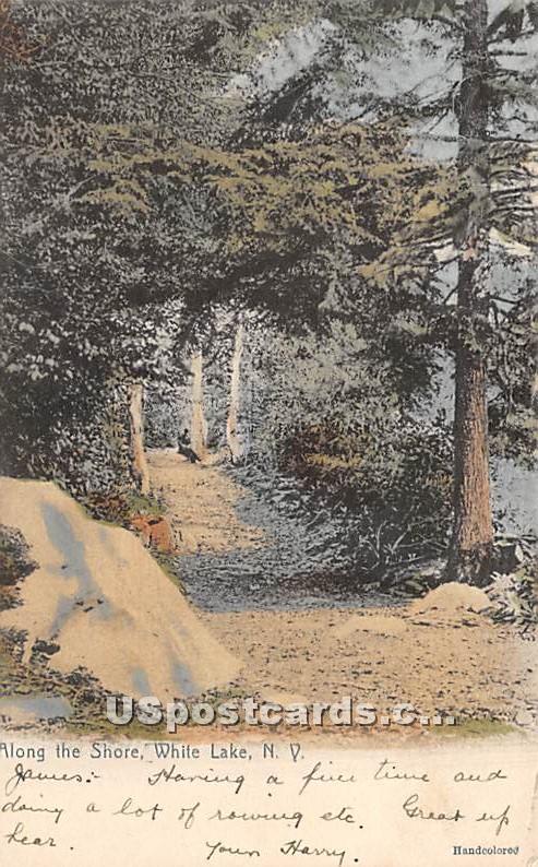 Along the Shore - White Lake, New York NY Postcard