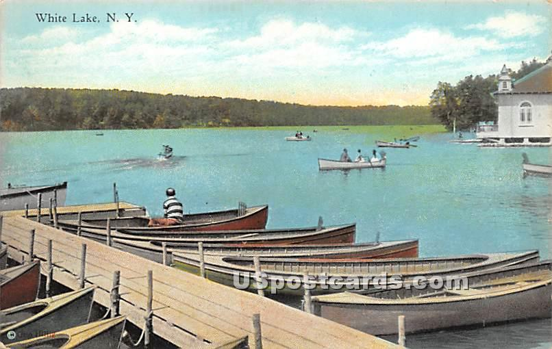 Boat Scene - White Lake, New York NY Postcard