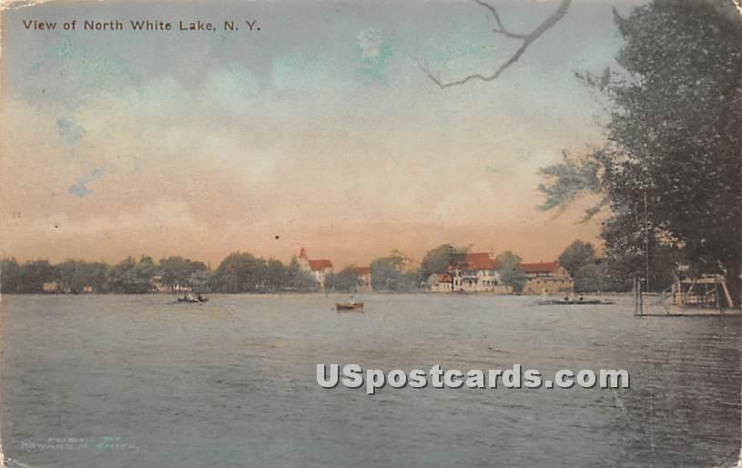 View of North White Lake - New York NY Postcard