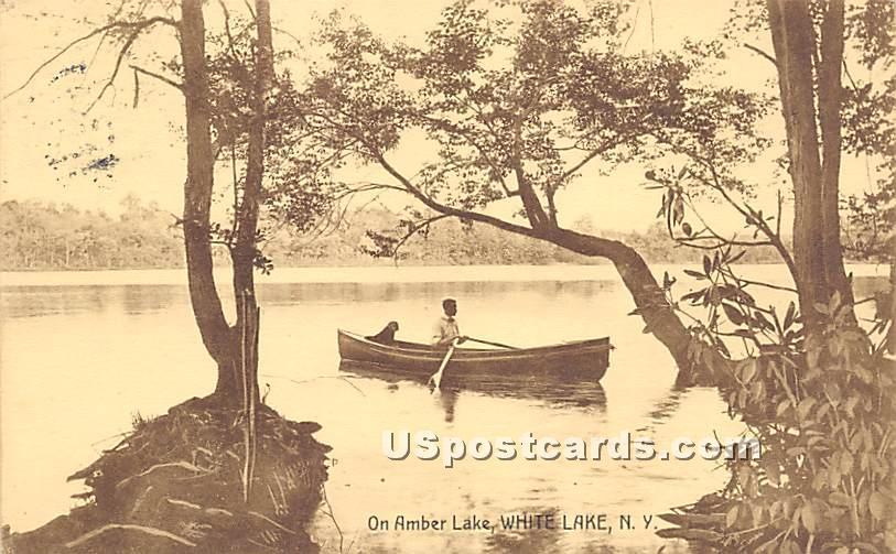 On Amber Lake - White Lake, New York NY Postcard